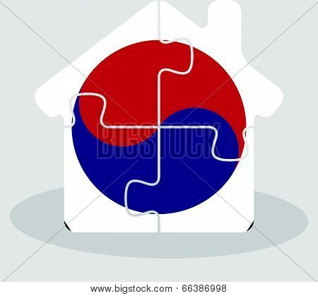 house home icon with South Korean flag in puzzle isolated on white background