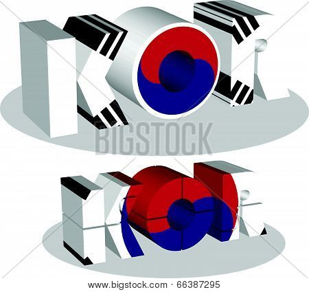 South Korean Flag in puzzle isolated on white background