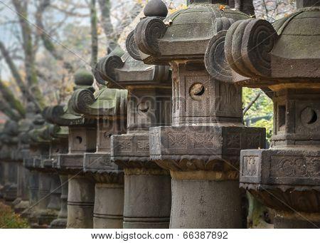 Stone Lanterns of Toshogu Shrine at Ueno Park in Tokyo