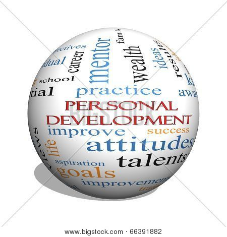Personal Development 3D Sphere Word Cloud Concept