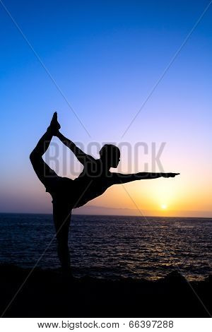 Woman Doing Yoga Sunset Silhouette