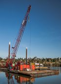 image of argo  - ?argo crane on a barge in the river dock - JPG