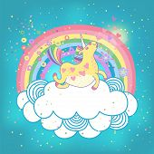 foto of pegasus  - Card with a cute unicorn rainbow in the clouds - JPG