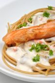 Salmon Steak With Home Made Spaghetti And Parsley poster