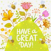 pic of bee cartoon  - Stylish card with cartoon beautiful and funny bees and flowers with sample text - JPG