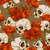 pic of day dead skull  - Skull and Flowers Seamless Background Day of The Dead - JPG