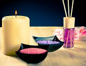 picture of diffusion  - Spa massage border background with perfume diffuser and sea salt warm atmosphere - JPG