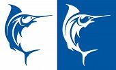 picture of swordfish  - Marlin fish deep sea fishing symbol on white and blue backgrounds - JPG