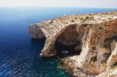 stock photo of grotto  - View of the Blue Grotto on the island of Malta - JPG