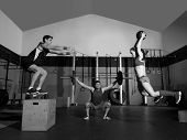 pic of slam  - gym people group workout barbells slam balls and jump exercises - JPG