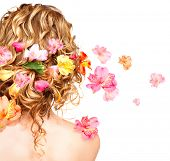 image of rare flowers  - Hairstyle with colorful flowers - JPG