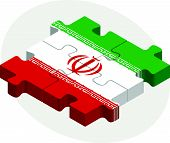 foto of iranian  - Vector illustration of Iranian Flag in puzzle isolated on white background - JPG
