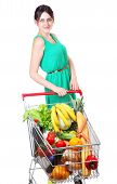 image of grocery cart  - Shopping Cart Full Of Grocery buying groceries in bulk shoppers with shopping carts supermarket trolley full of food isolated on white background - JPG