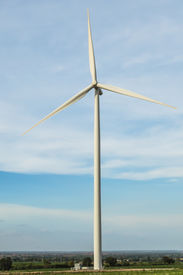 stock photo of wind vanes  - The wind turbine generator the renewable energy