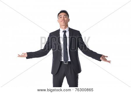 Very happy successful gesturing businessman, isolated on white background