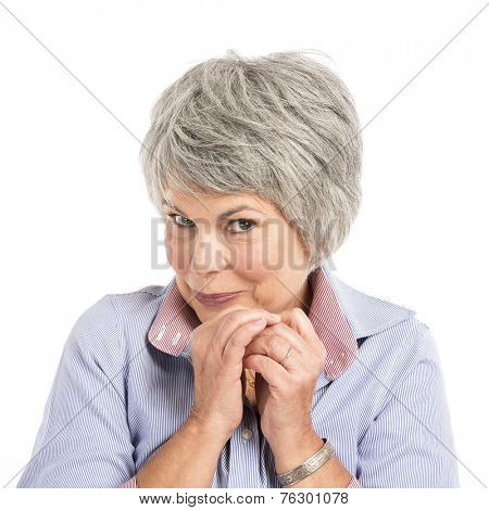 Portrait of a elderly woman with a shy expression