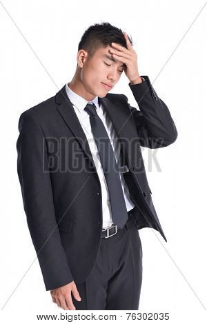 Asian businessman has flu , fever , headache isolated on white