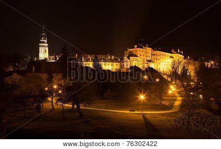 Castle Of Cesky Krumlov At Night, Czech Republic