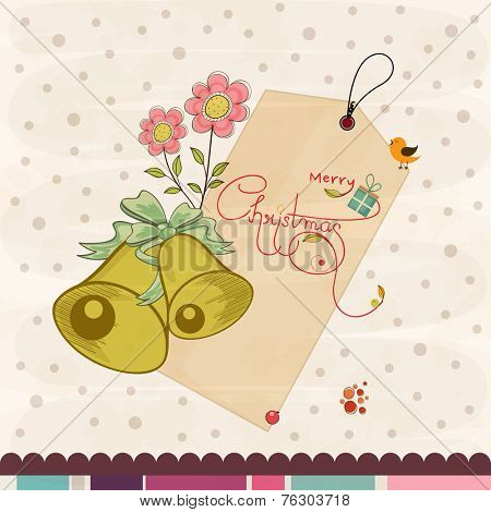 Merry Christmas sale tag with jingle bell and pink flowers on stylish background.