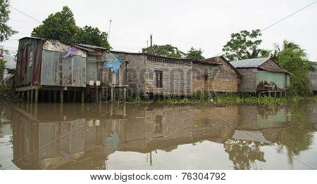 House on wooden stilts in Mekong Delta, Vietnam