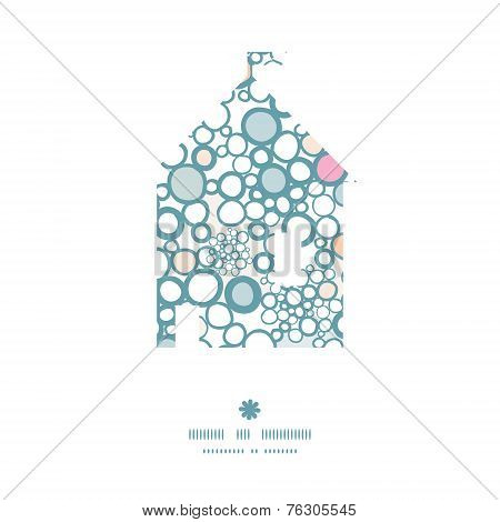 Vector colorful bubbles house silhouette pattern frame