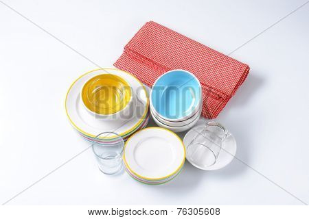 overhead view of porcelain and glass dishware