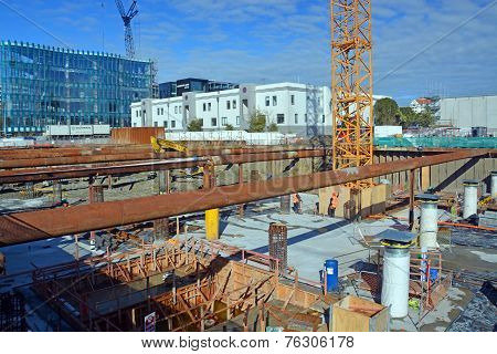 Massive Earthquake Proof Building Foundations Being Constructed