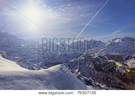 Valley In Jungfrau Region Helicopter View In Winter