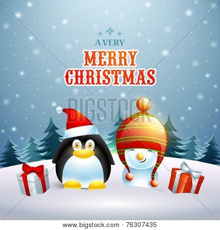 Celebration of Merry Christmas with penguin in Santa cap and snowman in winter cap with gift boxes on winter night background.
