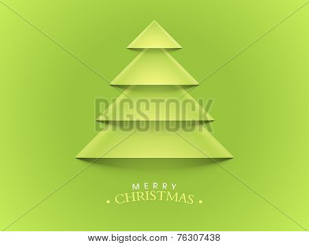 Merry Christmas celebration greeting card with stylish creative X-mas Tree on green background.