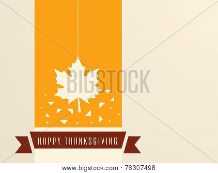 Stylish sticky with hanging maple leaf on yellow background with brown ribbon for Happy Thanksgiving Day celebrations.