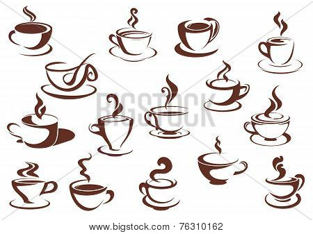 Doodle sketch set of steaming hot beverages
