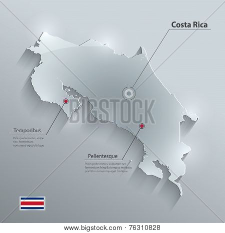 Costa Rica map flag glass card paper 3D vector