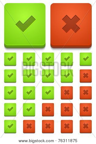 Vector modern yes and no icons set