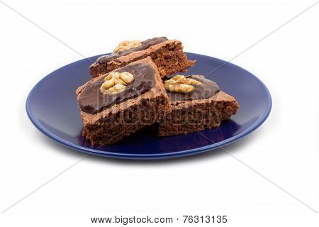 Three brownies isolated on white