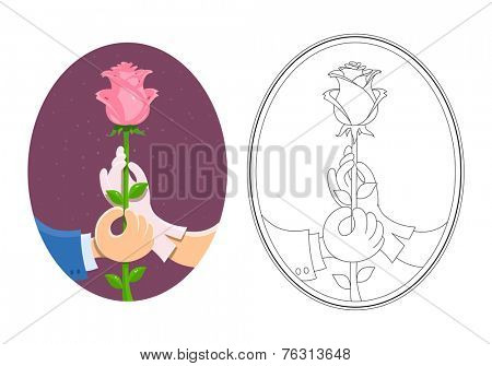 Couple of hands hold rose. Vector illustration. Isolated on white background