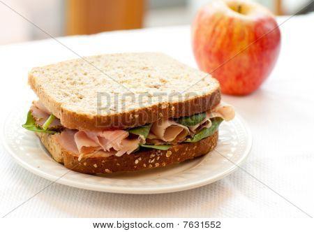 Ham Sandwich On Whole Wheat Bread