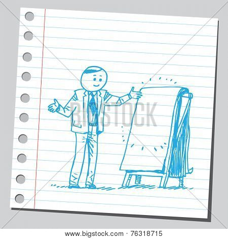 Businessman with empty flip chart