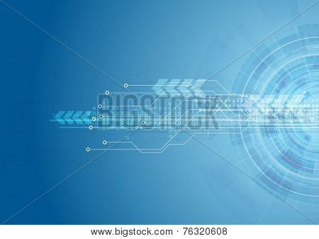 Blue bright hi-tech circuit board background. Vector design