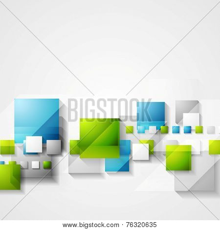 Shiny hi-tech green and blue squares background. Vector design