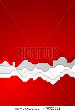 Bright red contrast abstract background with ragged stripes. Vector design