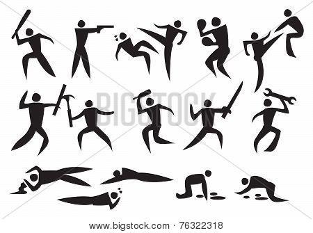 Icon Of Men Fighting