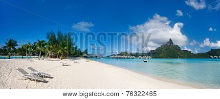 Stunning beach and beautiful view of Otemanu mountain on Bora Bora island