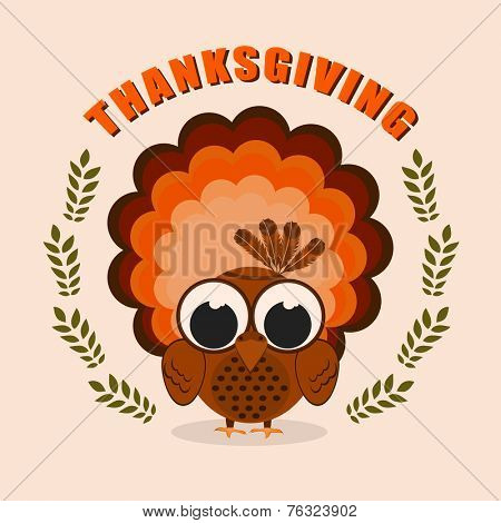 Happy Thanksgiving Day celebrations greeting card design with turkey bird on beige background.
