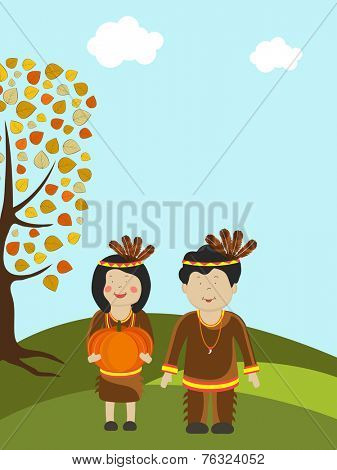 Cute little tribe kids holding pumpkin with autumn tree on nature background for Happy Thanksgiving Day celebrations.