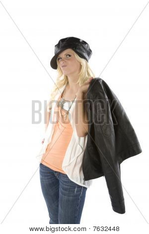 Girl Holding Jacket With A Smirk