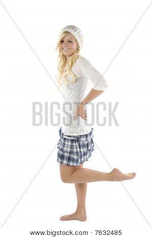 Girl In Blue Skirt Leg Up