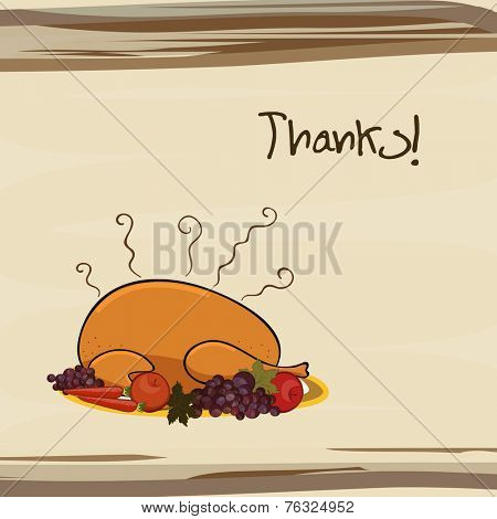 Happy Thanksgiving Day celebration with cooked chicken, veg, fruits and stylish text on stylish background.