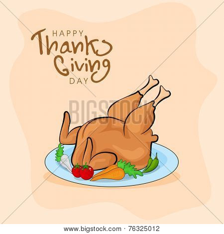 Cooked chicken legs and vegetables severed on plate on shiny beige background for Happy Thanksgiving Day celebrations.