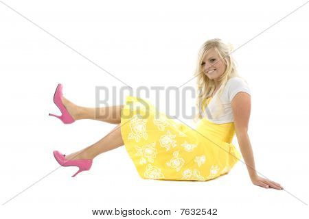 Girl In Yellow Dress And Pink Shoes